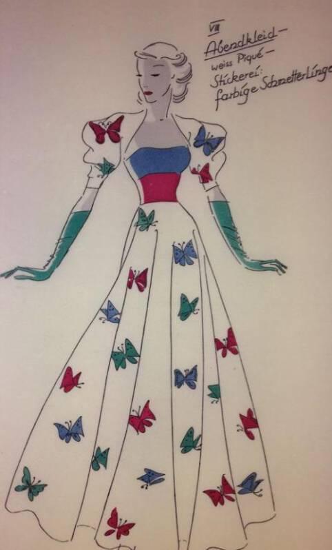 Das Plauener Spitzenmuseum - Entwurf eines Kleides aus den 30er Jahren