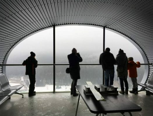 Ausblick vom Schanzenturm der Vogtland-Arena in Klingenthal