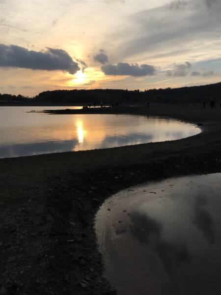 Talsperre Pöhl bei Niedrigwasser