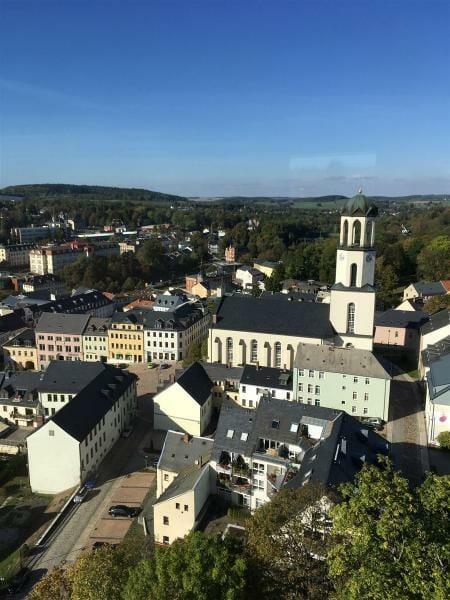 Blick vom Schlossturm in Auerbach