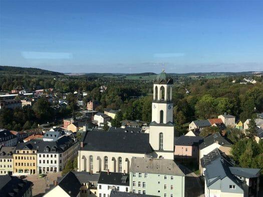Blick auf Auerbach im Vogtland vom Schlossturm