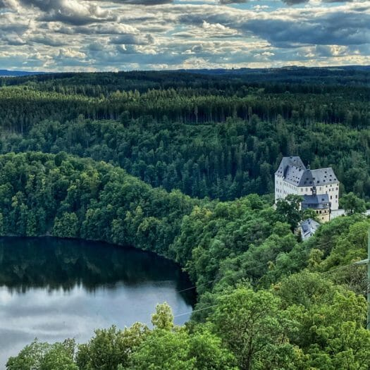 Blick vom Saaleturm Richtung Schloss Burgk