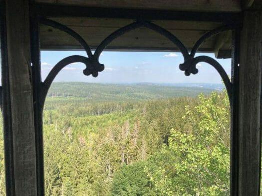 Aussicht von der Schüssel am Waldstein in Baywern
